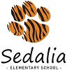 tiger paw image with sedalia elementary school underneath