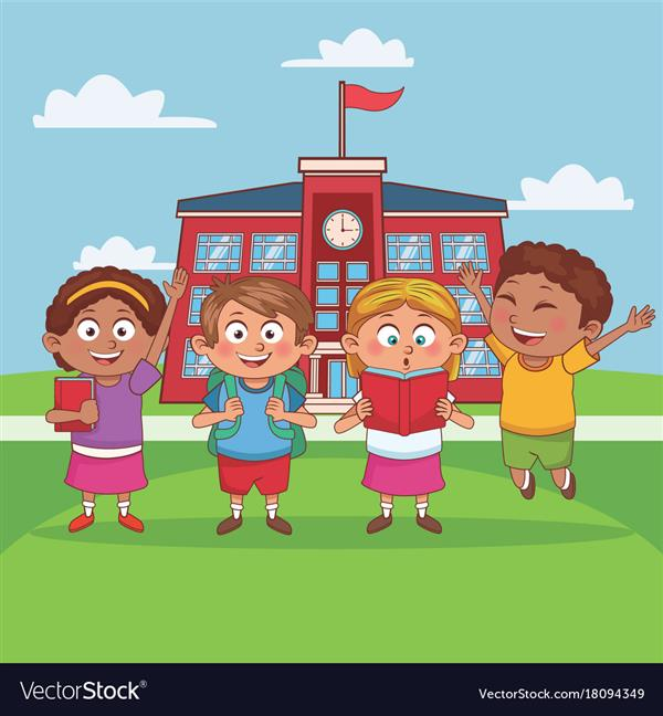 cartoon image of four kids in front of a school